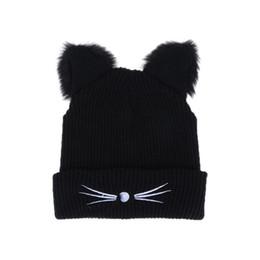 54ca2f87d33 Warm Black Knitted Winter Hat For Women Cute Cat Ears Hat Skullies Hats  Pompom Caps Female Bonnet Femme Woolen Braided Fur