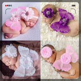 Wholesale Head Photo - Fashion baby butterfly wings head flower photo set Hair Clips popular photography props baby angel wings Hair Accessories 10 color Headband