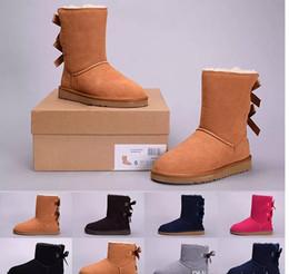 Meio preto do deslizamento on-line-2019 Natal WGG das Mulheres da Austrália Clássico ajoelhar meia ug Botas Ankle boots Preto cinza castanha marinha azul rosa Mulheres menina botas de Inverno 5-10