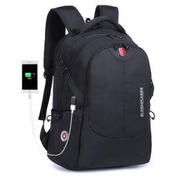 17 bolsas de ordenador portátil para hombres online-Mochila de nylon impermeable suiza Unisex Cargador de teléfono portátil para hombres Mochila Bolsos escolares escolares Viajes de 15 a 17 pulgadas