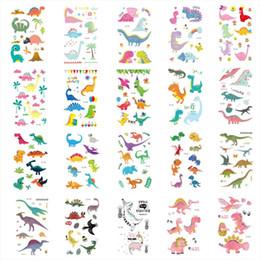 padrões de tatuagem de pé Desconto 20 pcs Dinossauros Adesivos 3D Dos Desenhos Animados Coloridos Tatuagens Etiqueta Crianças Flash Temporária Tatuagem Colar Bebê Rosto Corpo Braço Tatoo presentes