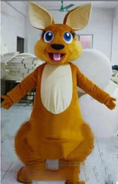 Wholesale kangaroo adult costume - Adult Size Forest Animal Brown Kangaroo Mascot Costume Fancy Dress Party Outfit Drop Shipping