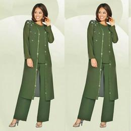 equipamento feito Desconto Custom Made Green Plus Size Mãe da calça da noiva Suit com Jacket Longo 2018 Vestido de Noiva da Mãe Beads Wedding Guest Dress