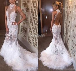 Wholesale keyhole bridal jacket - Luxury Backless Mermaid Prom Dresses 2017 High Collar Feather See Through White Lace Bridal Evening Bridal Gowns Pageant Celebrity Dresses