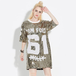 Wholesale plus size tee shirt dress - 2018 Woman Club Dresses Sequin T Shirt Dress Plus Size Loose Tee Shirts Glitter Tops Christmas Ladies Dress New Women