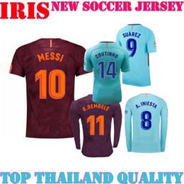 Wholesale Football 14 - 17 18 MESSI O.DEMBELE COUTINHO 14 CHAMPIONS LEAGUE Soccer jerseys SUAREZ HOME CAMISETA AWAY Long sleeve FOOTBALL jersey MAILLOT DE FOOT