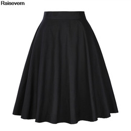 2019 le gonne signore lavorano Solid Black Skirt Women 2018 New Summer Vita alta OL Work Office Gonne casual Rokken Ladies A Line Gonna a pieghe con pieghe Falda sconti le gonne signore lavorano