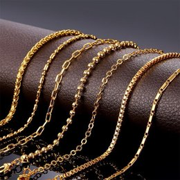 Wholesale Cuban Link Gold Chains Wholesale - 24k Gold Plated Necklaces Cuban Charming Link Chain Fine Jewelry Fashion Choker Luxury Wholesale Perfect Gift Hot Sale Party Free Shipping