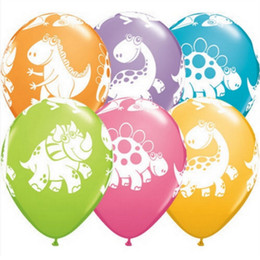 Wholesale baby showers decorations - lot 12 15pcs lot 12 Inch The Dinosaur Printed Animal Latex Balloons Baby Shower Children's Birthday Party Decoration Balloons Supplies