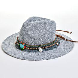 cbf95ca8f6a3b Verano Fedora Sombrero de paja Sombreros para el sol Bohemia Jazz Cap Big  Brim Women Panamá Sombreros de playa al aire libre Casual Chapeu Feminino