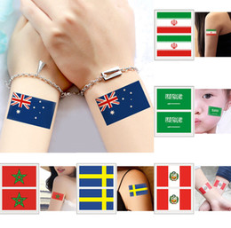 Wholesale france flag sticker - Russia 2018 World Cup National Flag Tattoo Sticker Temporary Body Face Hand Tattoo Adhesive Stickers 6*8cm Brazil Russia France 500PCS GGA88
