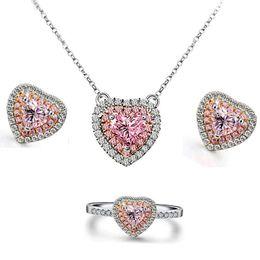 Wholesale 925 Ring Swarovski - Valentine's Day Gifts Necklace Earrings Ring 925 Sterling Silver Swarovski Crystal Pink Topaz Kunzite Size 6 7 8 9 Women Jewelry Set