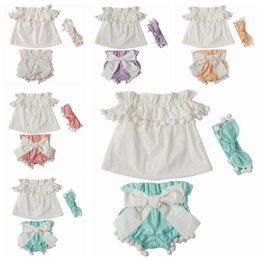 Wholesale Baby Bloomers Headbands - 2018 summer girls boutique outfits baby clothing sets toddler headbands tassel off the shoulder tops bowknot bloomers shorts 3pc kid clothes