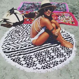 plain sarongs wholesale Promo Codes - Microfiber 150cm Round Beach Towel Summer Vacation Sarongs Seaside Shawl Bath Towel Large Geometry Cooling Swimming Towel For Beach