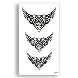 Wholesale Sticker Tribal - 2pcs Black Fake temporary tattoo Water Transfer Tribal totem Stickers Beauty disposable Body Art Cool makeup Live of Song X437