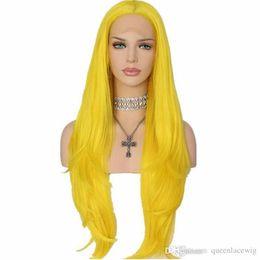 Cosplay perucas mulheres on-line-Natural Macio Cosplay Amarelo Cor Longa De Seda Em Linha Reta Peruca Dianteira Do Laço Resistente Ao Calor Sintético Cabelo Glueless Lace Front Perucas para As Mulheres Negras