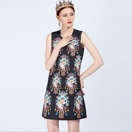 59fed5b35bd Discount vintage floral print dresses - New Arrival 2018 Women s O Neck  Sleeveless Beaded Printed A