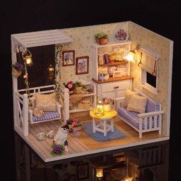 Wholesale 3d Wooden Puzzle House - 3D Wooden Doll House Furniture Diy Kits Miniature Dust Cover Funny Puzzle Dollhouse Toy for Children Birthday Gifts Kitten Diary