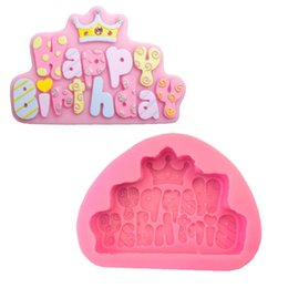 Kronenformen online-1 STÜCK 11,9 * 8,4 * 2 cm Happy Birthday Form Crown Silikon Backformen Backformen DIY Seifenformen
