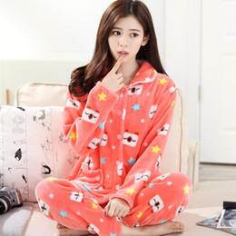c4168b7f68 Señora Coral Velvet Homewear de las mujeres de invierno engrosamiento  pijamas traje de franela de manga larga ropa de dormir tamaño Homewear D-2053  ropa de ...