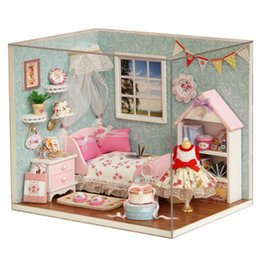 Wholesale happy houses - Dollhouse Room Diy Toy House Happy Little World Miniature Assemble Kits Lighting Miniature Dollhouse Handmade Wooden House Toy