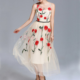 Wholesale embroidery cotton dress for women - Top Quality Poppy Flowers Dress For Women Chiffon Sexy Outwear Female Hollow Dress Lady Beach Tank Lady Embroidery Dress