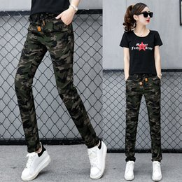 Wholesale camouflage trousers for women - Camouflage Pants Female Casual Trousers Mid Waist Pants For Women