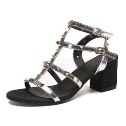Wholesale Chunky Gladiator Sandals - New open toe women sandal shoes 2018 European and American style summer shoes fashion sandals rivet high heel shoes woman sandals