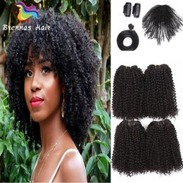 Wholesale Kinky Curly Synthetic Weave - 12-16inch Brazilian Curly Synthetic Hair Weave Bundles Sewing in Hair Extensions with Closure clip hair afro kinky curly One Pack Full Head