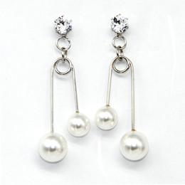 Wholesale Pearl Clip Dangle Earrings - Korean Style Personality Clip Drop Earrings The Diamond Fashional Earrings Modelling Simple Pearl Earrings