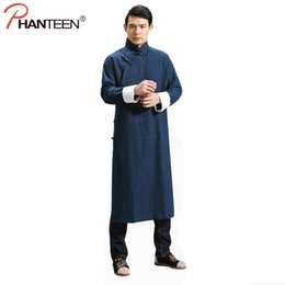 Wholesale Traditional Men Chinese Clothes - Phanteen Manual Design Chinese Style Man Jackets Traditional Kung Fu Slant Opening Linen Gown Loose Casual Activity Men Clothing