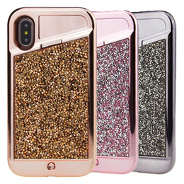 Wholesale Phone Rhinestones - LED Light phone Case Iphone X Diamond Bling Rhinestone Hybrid TPU Hard PC Back Cover for Iphone X 7 7plus 8 8plus