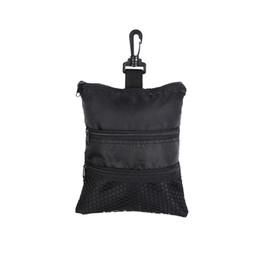 Bolso multi cremallera negro online-Mini Bolso portátil de pelota de golf Multi-Pocket Bolso de cremallera negro Bolso Accesorios de golf