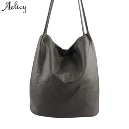 Wholesale Large Gray Leather Handbag - Aelicy Luxury PU Leather Women Handbags Gray Bucket Shoulder Bags Large Capacity Ladies Shopping Bag Crossbody Bags For Women