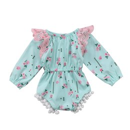 f12e8c624d02 Baby girl retro floral green romper onesies lace flower ruffle jumpsuit  outfit long sleeves kid girls clothing roupas bodysuit sunsuit 0-24M