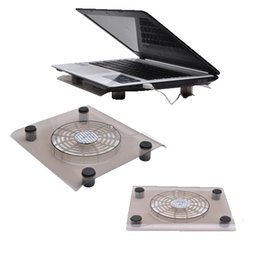 Cojín fresco para el ordenador portátil online-Negro 12 pulgadas USB 2.0 Plug Notebook PC portátil Refrigeración Silent Fan Cooler Pad Clear