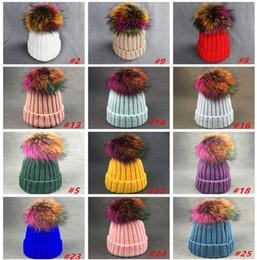 Madre y niños sombreros nuevos otoño invierno niños bebé caliente gorros de  punto gorros de lana colorido mapache bola de lana para adolescente  sombreros de ... 3cc1d7a6e6a