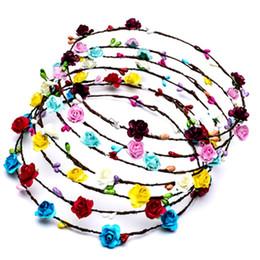 Wholesale Wholesale Rattan Wreaths - Led Flower Wreath Headband Crown Festival Floral Garland Bohemia For Travel Wedding Headdress Glow Rattan Hair Hoop 3 5mh Z
