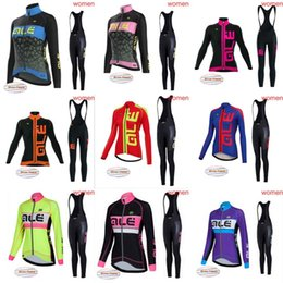 Wholesale Cycling Pro Team Kit - ALE 2018 pro team women's Long sleeve Cycle Jersey kit Winter Thermal Fleece Bicycle Clothes bib pants Sets C1246