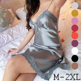 Wholesale Womens Plus Size Nightgowns - 10 Colors Sexy Womens Lingerie Silk Robe Dress Babydoll Nightdress Nightgown Sleepwear Plus Size M-2XL