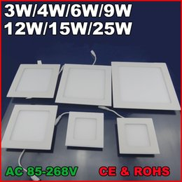 Argentina 3W 4W 6W 9W 12W 15W 25W AC85 ~ 265V Blanco frío / blanco cálido LED LED de techo Downlights LED de panel cuadrado Bombilla SMD2835 Alta calidad Suministro