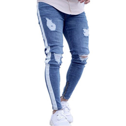 pantalones orificios laterales Rebajas Mens Ripped Vintage Side Striped Pencil Pants Hombre Distribuido Slim Fit Skinny Jeans con agujeros Envío gratis