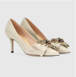Wholesale Spring Metal Pointed - Luxury brand Genuine Leather mid-heel pump with bow with metal pearls bee Point toe Three Colors 7CM and 5CM Heel Women Wedding Pump Shoes