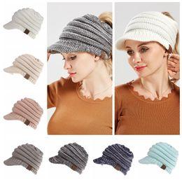 Wholesale winter caps for women - CC Beanies Winter Woolen Knitted Cap Casual Unisex Multi Colors Optional For Women Children Warm Hat 20pcs NNA345