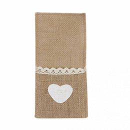 Wholesale Fork Types - 2018 NEW HOT SALES Jute Tableware Pouch Pocket Burlap Lace Knife and Fork Bag For Rustic Wedding Decoration