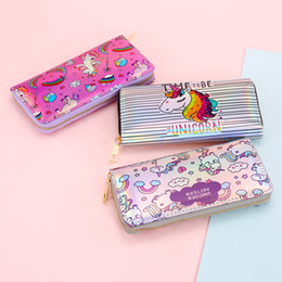 Wholesale womens long wallets - 3styles women Unicorn laser Long Wallet Print Coin Purse Womens Wallet Card Holder Holographic Phone Clutch FFA455 36pcs