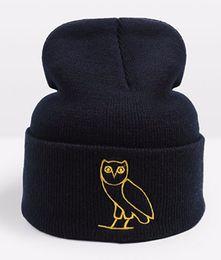Wholesale Hair Ball Cap - 2018 Drake Ovoxo Winter Warmer Hat Skullies Slouchy Beanies Unisex Knitted Hat Mens And Womens Skull Hip Hop Cap Hair Bonnets