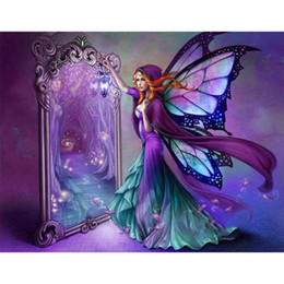 Wholesale Mirror Ornament - Mirror fairy girl 5D DIY Mosaic Needlework Diamond Painting Embroidery Cross Stitch Craft Kit Wall Home Hanging Decor