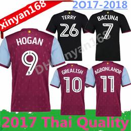 Wholesale Aston Red - new Aston Villa 17 18 top quality home Soccer Jersey 2017 2018 Aston Villa Soccer Shirt TERRY HOGAN BREE AGBONLAHOR Football uniform Kit
