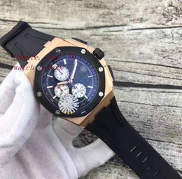 Wholesale Mens Offshore Watch - Mens Rose gold Oak Offshore VK Quartz Chronograph Flyback Quartz Men's 42mm Watch stainless steel Case diving Sport K8 Wristwatch